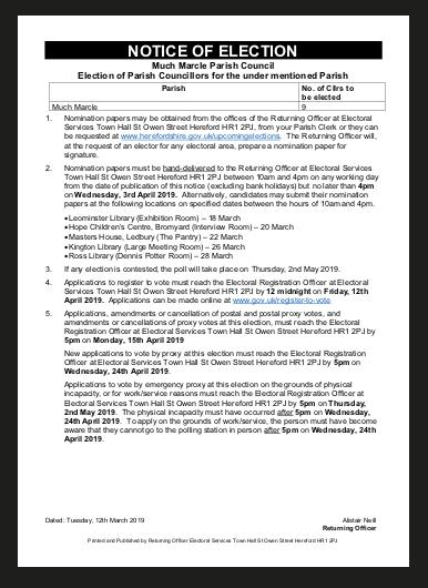 Notice of parish election 2019